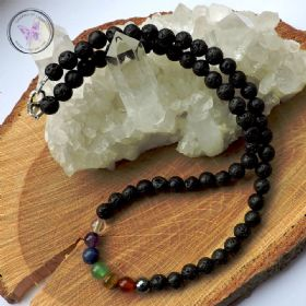Lava Stone Essential Oil Diffuser Chakra Necklace